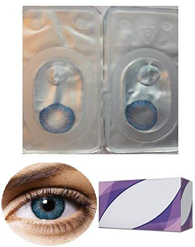 Perfection 123 Only - Women Multi-Color Contact Lenses - Cases Cosplay Eyes Cute Colored Cosmetic Makeup Eye Shadow (Blue 3 with Case) - Blue Eyes For Contacts