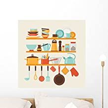 Wallmonkeys Card with Kitchen Shelves Wall Mural by Peel and Stick Graphic (24 in H x 23 in W) WM354631