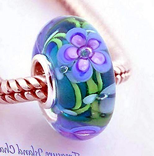 Lot of 1 Pc. Forget-ME-NOT Purple Flower Murano Glass 925 Sterling Silver European Bead Charm Vintage Crafting Pendant Jewelry Making Supplies - DIY for Necklace Bracelet Accessories by CharmingSS