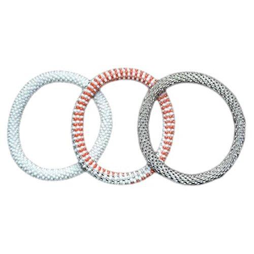 Orange, Silver, White Handmade Beaded Bracelets Set,Seed Beads,Nepal,BS528
