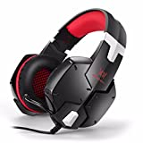 Feccoe KOTION EACH G1200 Gaming Headset 3.5mm Game Headphone Earphone Headband with Mic Stereo Bass for PS4 PC Computer Laptop Mobile Phones (Red)