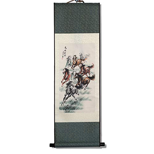 SweetHome Asian Silk Scroll & Picture Scroll & Wall Scroll Calligraphy Hanging Artwork (Great Horses Meaning Of Immediate -
