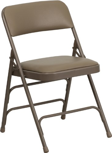 Flash Furniture HERCULES Series Curved Triple Braced & Double Hinged Beige Vinyl Fabric Metal Folding Chair