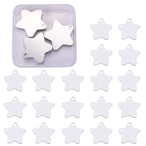 BENECREAT 30 Pack Stamping Blanks Aluminum Blank Pendants for Bracelet Earring Pendant Charms Dog Tags - 1.4x1.4, Star Shape