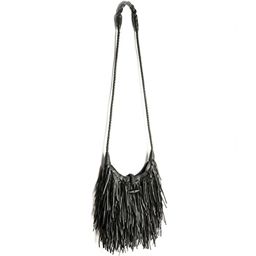 Women's Fashion Fringed Shoulder Bag,WALLYN'S Tassel Faux Suede Leather Messenger Bag Hobo Cross Body Handbag - Fringed Black Handbag