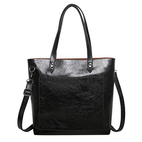 (Gogoodgo Women Top Handle Satchel Handbags Shoulder Bag Tote Purse with Hairball Ornaments Tote Purse Crossbody Bag Black)