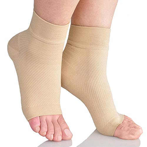 DRASEX Plantar Fasciitis Socks Compression Foot Sleeves with Arch Support for Men Women Athletic Sock Aching Feet Heel Pain Relief - Better Than Night Splint Brace Orthotics Inserts Insoles Nude S/M