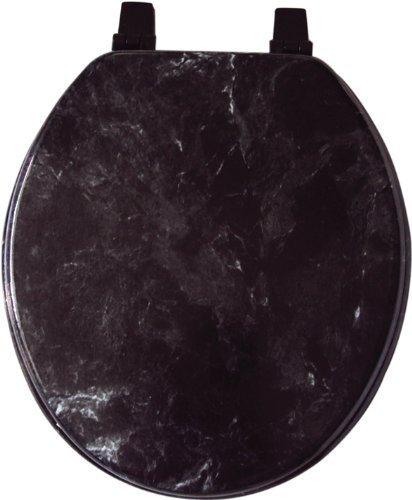 chic American Dream Standard Black Marbleized Wood Toilet Seat
