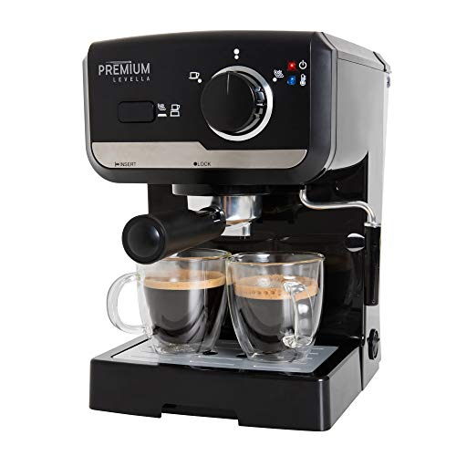 15 Bar Espresso Machine, Premium Lavella, Espresso and Cappuccino Maker with Stainless Steel Milk Frother, PEM1505B, Black