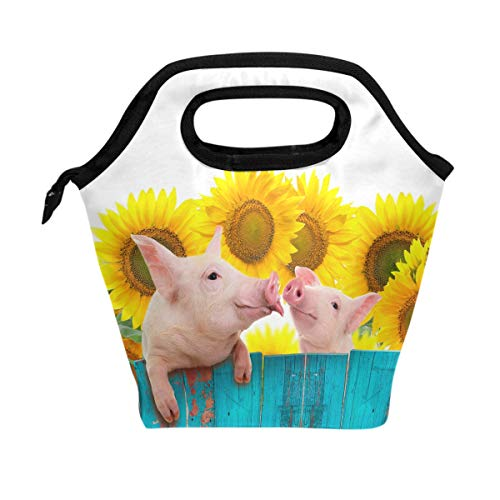 ALAZA Funny Pig Hanging On Fence Reusable Insulated Lunch Tote Picnic School Bag,Animal Sunflower Cooler Box for Men Women Ladies Girls Student