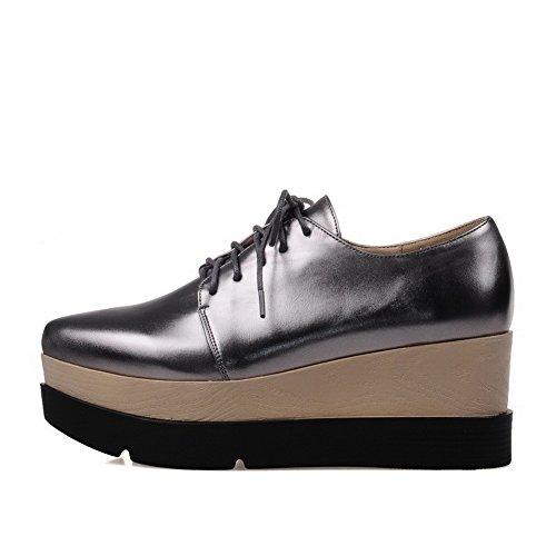 Amoonyfashion Donna Materiale Morbido A Punta Chiusa Gattino-tacco Scarpe Stringate-scarpe Argento