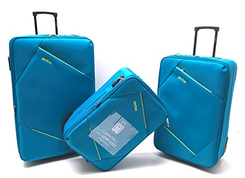 Set Tre Trolley Clacson Semirigidi Resistente Economico Espandibile con Trolley Bagaglio a Mano idoneo Ryanair cm.55x40x20 (Turchese)