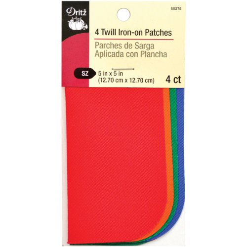 Dritz 5 by 5-Inch Iron on Twill Patches, 4-Pack, Bright