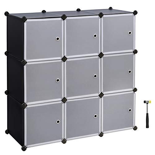 SONGMICS Cube Storage Organizer, 9-Cube DIY Plastic Closet Cabinet, Modular Bookcase, Storage Shelving with Doors for Bedroom, Living Room, Office, 42.9″ L x 14.2″ W x 42.9″ H Black ULPC33H