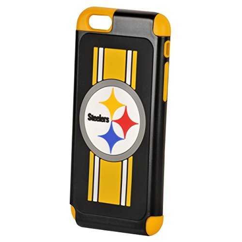 Forever Collectibles Official Licensed NFL Dual Hybrid 4.6'' iPhone 6 Rugged Case - Retail Packaging (Pittsburgh Steelers)