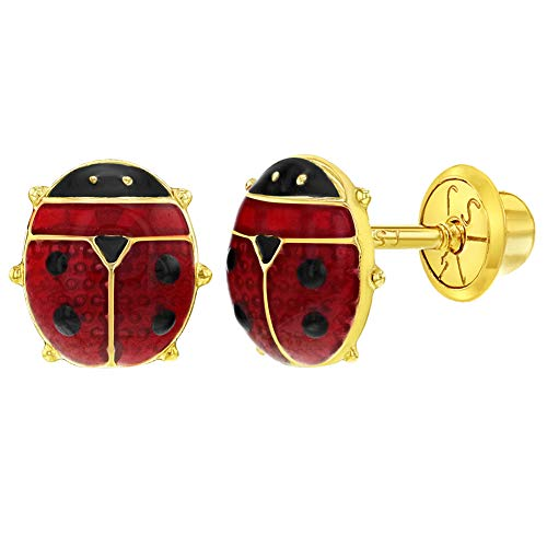 14k Yellow Gold Red Enamel Ladybug Safety Screw Back Earrings Toddlers Girls ()