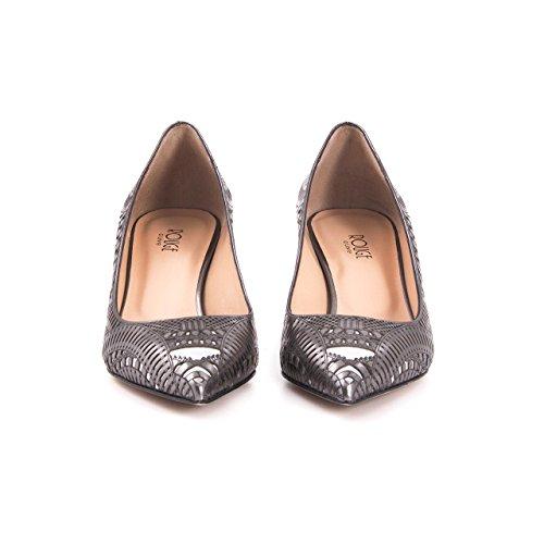 ROUGE Damen Schuh Stiletto Elegant Pumps Einzigartig Echtleder Premium High Heels Leder, Sommerschuh Sommerlich Angenehm Abendmode Anthrazit