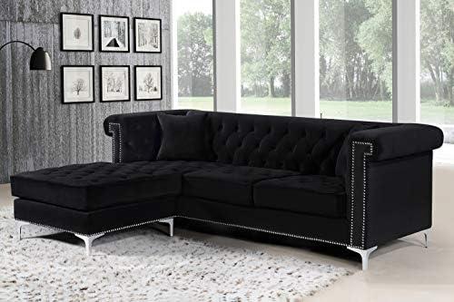 Amazon.com: Meridian Furniture 608Black-Sectional Damian ...
