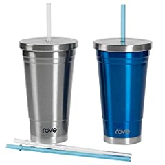 Rōve on the go living insulated tumblers deliver the quality you expect and so much more. The stainless steel double walled tumbler fits most car cup holders. It includes 4 TritanTM straws designed to stay inside the tumbler. The bottle's hig...