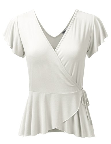 Doublju Deep V-Neck Surplice Ruffle Blouse Cross Wrap Tops For Women With Plus Size (Made In USA) Ivory - Ivory Usa