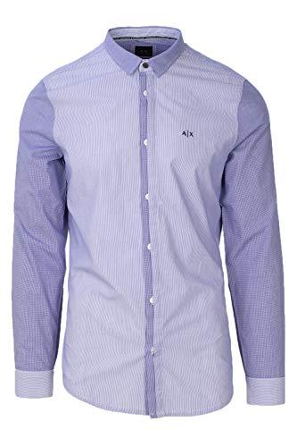 Exchange Uomo 6zzc30 Lunga Manica Armani blue Camicia Wht Znqbz POxwad