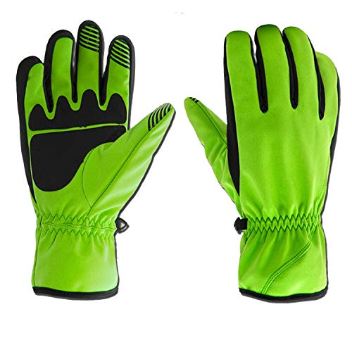 Full Finger Bike Cycling Winter Thermal Ski Gloves Touch Screen Warm Motorcycle Bicycle for Men&Women (Color : Green, Size : L)