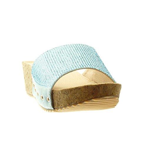 Angkorly - Zapatillas de Moda Mules Sandalias zapatillas de plataforma mujer strass tachonado corcho Talón Plataforma 5 CM - Azul