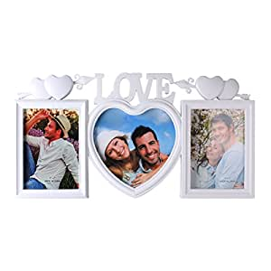UniqueBella 3 in 1 Collage Photo Frame LOVE Hanging Wall Art Decor White