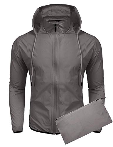 COOFANDY Unisex Lightweight Rain Jacket Packable Hooded Running Cycling Hiking Waterproof Outdoor Raincoat Grey