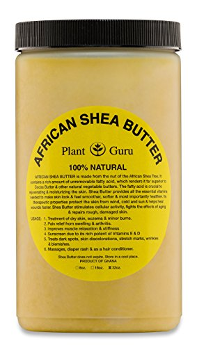 Plant Guru African Shea Butter Raw Unrefined Grade A 100% Pure Natural Gold/Yellow - 32 oz. - DIY Body Butters, Lotion, Cream, lip Balm & Soap Making Supplies, Eczema & Psoriasis Aid, Stretch Marks