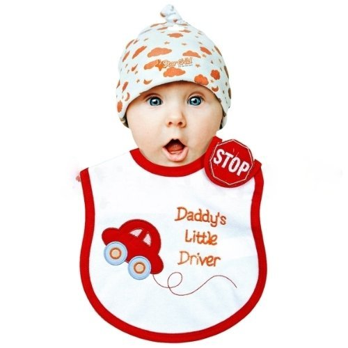 Baby Bib with Red Car /& Blue Socks 6-12 Months I Love Hugs