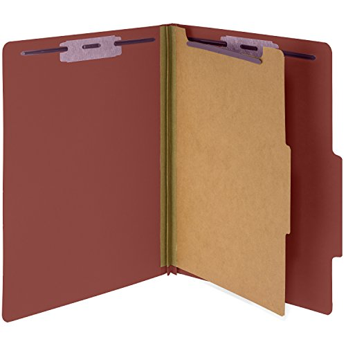 10 Red Classification Folders- 1 Divider-2'' Tyvek expansions- Durable 2 Prongs designed to organize standard medical files, law client files, office reports– Letter Size, Red, 10 Pack