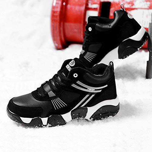 Desgaste Caliente Pareja negro Zapatillas Deportivos Zapatos 41 Espesando Invierno De Blanco Encaje amp; Terciopelo Con Correr Casual Diariamente Amante Cómodo Plana 6wTxdv