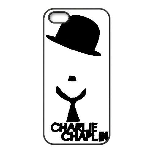 Charlie Chaplin 002 coque iPhone 5 5S cellulaire cas coque de téléphone cas téléphone cellulaire noir couvercle EOKXLLNCD22754