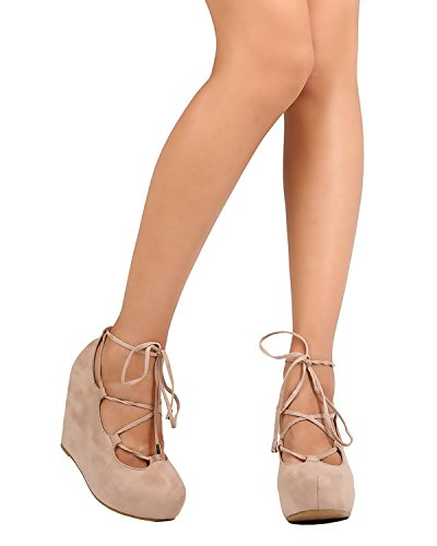 DBDK Women's High Platform Ghillie Ankle Strappy Round Closed Toe Wrapped Wedge (8.5 B(M) US, Taupe)