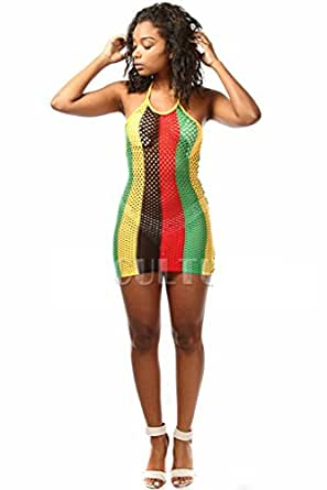 Reggae Rasta African Striped Fishnet Tube Cover-Up Mini ...