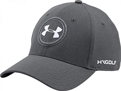 (Under Armour UA Jordan Spieth Pro Tour Golf Cap (Graphite Gray White Embroidery) Flex-Fit PGA Hat SM/MD)