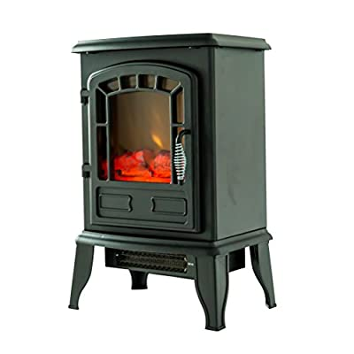 FLAMEandSHADE Electric Fireplace Stove Heater, Portable Fireplace Space Heater, Freestanding, Black