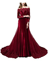 Vintage Long Sleeves Velvet Evening Gown Off The Shoulder Wedding Dress with Detachable Train