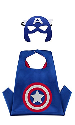 Superhero Cape and Mask Costume Set Boys Girls Birthday Halloween Play Dress Up (Captain - America Captain Costume Best