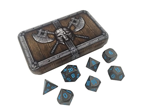 Skull Splitter Dice Ice King's Revenge Metal Dice - Gunmetal Gray with Blue Numbers | Solid Metal Polyhedral Role Playing Game (RPG) Dice Set (7 Die in Pack) with Awesome - Metal Blue