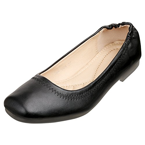 SANMIO Women's Flat Shoes, Slip On Ballet Flats Leather Square Toe Casual Loafer