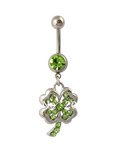 Green Peridot Belly Button Ring - 7