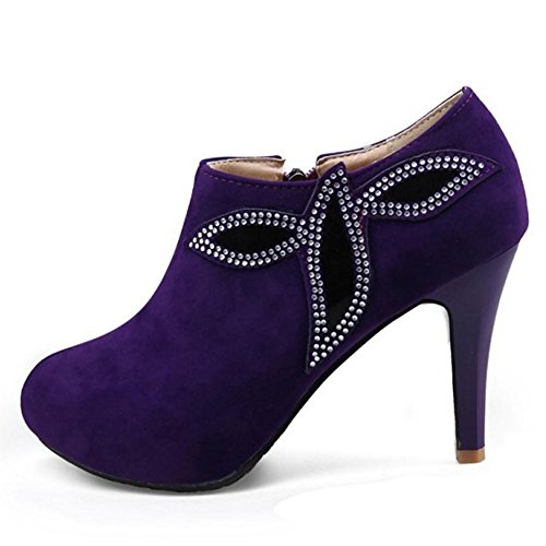 Women's TAOFFEN 3447Purple Boots With Zipper Booties daxarnZ
