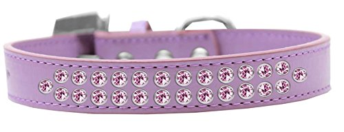 Mirage Pet Products Two Row Light Pink Crystal Lavender Dog Collar, Size 20 by Mirage Pet Products