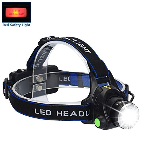 LED Headlamp Flashlight Kit, ANNAN 2000-Lumen Super Bright Headlight with Zoomable Head, Red Safety Light,4 Modes, Waterproof Light for Camping, Biking, 2 Rechargeable Batteries Included
