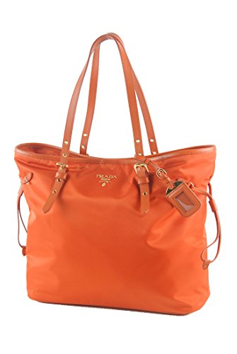 Prada Large Saffiano Leather Trim Nylon Tessuto Papaya Shoulder Bag Shopper Tote Hand Bag (Prada Shoulder Leather Bag Handbag)
