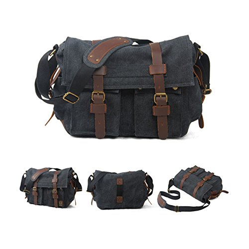 Casual Sports Bag Canvas Military Vintage Satchel Negro Bags Shoulder School Black Carbón VRIKOO Crossbody Carbon Messenger qwHUXyII