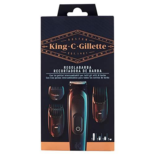 🥇 King C Gillette Kit de recortadora de barba inalámbrica para hombre con hojas siempre afiladas y 3 peines intercambiables