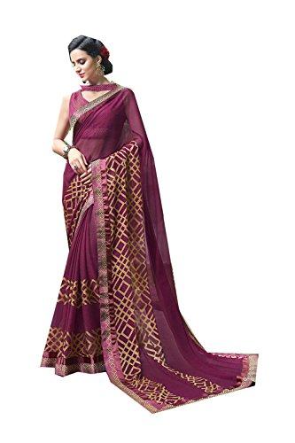 Da Facioun Saris Indiens Pour Les Femmes Concepteur Mariage Partie Portent Sari Violet Traditionnel.